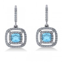 Blue Topaz & Diamond Double Halo Dangling Earrings 14k W Gold (3.00ct)