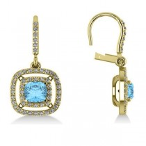 Blue Topaz & Diamond Double Halo Dangling Earrings 14k Y Gold (3.00ct)