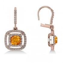 Citrine & Diamond Double Halo Dangling Earrings 14k R Gold (3.00ct)