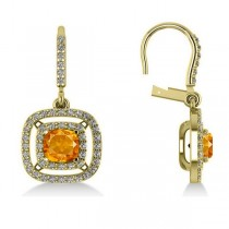 Citrine & Diamond Double Halo Dangling Earrings 14k Y Gold (3.00ct)