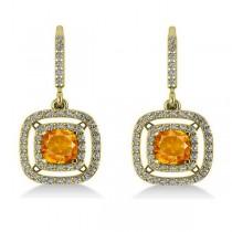 Citrine & Diamond Double Halo Dangling Earrings 14k Y Gold (3.00ct)