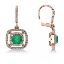 Emerald & Diamond Double Halo Dangling Earrings 14k Rose Gold (3.00ct)