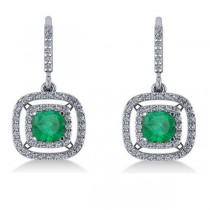 Emerald & Diamond Double Halo Dangling Earrings 14k White Gold (3.00ct)