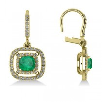 Emerald & Diamond Double Halo Dangling Earrings 14k Yellow Gold (3.00ct)