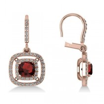 Garnet & Diamond Double Halo Dangling Earrings 14k Rose Gold (3.00ct)