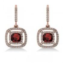 Garnet & Diamond Double Halo Dangling Earrings 14k Rose Gold (3.00ct)