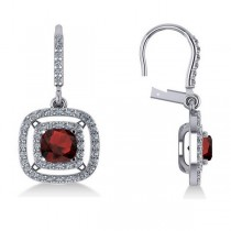 Garnet & Diamond Double Halo Dangling Earrings 14k White Gold (3.00ct)