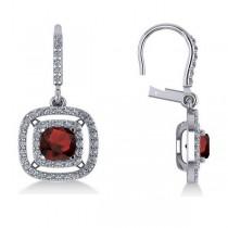 Garnet & Diamond Double Halo Dangling Earrings 14k White Gold (3.00ct)