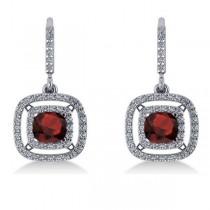 Garnet & Diamond Double Halo Dangling Earrings 14k White Gold (3.00ct)|escape