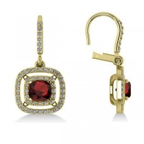 Garnet & Diamond Double Halo Dangling Earrings 14k Yellow Gold (3.00ct)