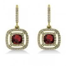 Garnet & Diamond Double Halo Dangling Earrings 14k Yellow Gold (3.00ct)