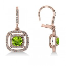 Peridot & Diamond Double Halo Dangling Earrings 14k Rose Gold (3.00ct)