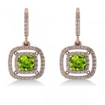Peridot & Diamond Double Halo Dangling Earrings 14k Rose Gold (3.00ct)
