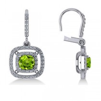 Peridot & Diamond Double Halo Dangling Earrings 14k White Gold (3.00ct)
