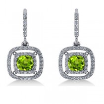 Peridot & Diamond Double Halo Dangling Earrings 14k White Gold (3.00ct)|escape