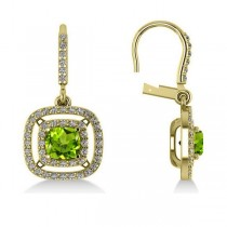 Peridot & Diamond Double Halo Dangling Earrings 14k Yellow Gold (3.00ct)