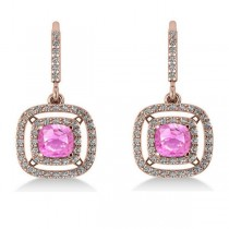Pink Sapphire & Diamond Halo Dangling Earrings 14k Rose Gold (3.00ct)
