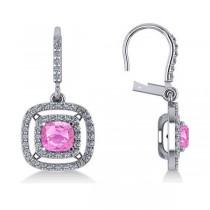 Pink Sapphire & Diamond Halo Dangling Earrings 14k White Gold (3.00ct)