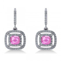Pink Sapphire & Diamond Halo Dangling Earrings 14k White Gold (3.00ct)