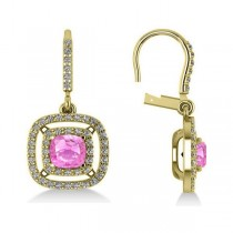 Pink Sapphire & Diamond Halo Dangling Earrings 14k Yellow Gold (3.00ct)