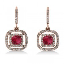 Ruby & Diamond Double Halo Dangling Earrings 14k Rose Gold (3.00ct)