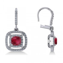 Ruby & Diamond Double Halo Dangling Earrings 14k White Gold (3.00ct)
