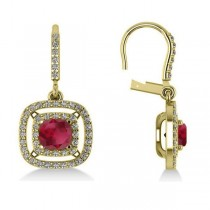 Ruby & Diamond Double Halo Dangling Earrings 14k Yellow Gold (3.00ct)