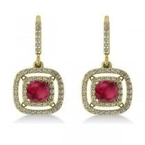Ruby & Diamond Double Halo Dangling Earrings 14k Yellow Gold (3.00ct)