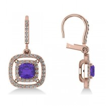Tanzanite & Diamond Double Halo Dangling Earrings 14k R Gold (3.00ct)