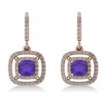 Tanzanite & Diamond Double Halo Dangling Earrings 14k R Gold (3.00ct)