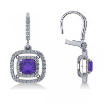 Tanzanite & Diamond Double Halo Dangling Earrings 14k W Gold (3.00ct)