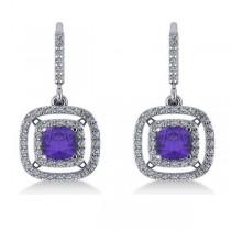 Tanzanite & Diamond Double Halo Dangling Earrings 14k W Gold (3.00ct)|escape