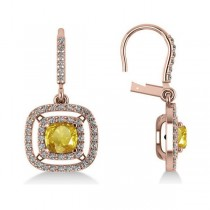 Yellow Sapphire & Diamond Halo Dangling Earrings 14k Rose Gold (3.00ct)