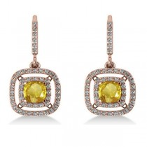 Yellow Sapphire & Diamond Halo Dangling Earrings 14k Rose Gold (3.00ct)