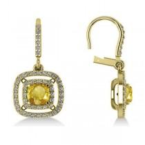 Yellow Sapphire & Diamond Halo Dangling Earrings 14k Yellow Gold (3.00ct)