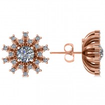 Diamond Sunburst Earrings 14k Rose Gold (1.40ct)