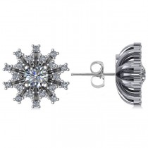 Diamond Sunburst Earrings 14k White Gold (1.40ct)