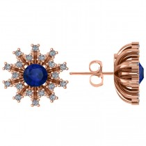 Blue Sapphire & Diamond Sunburst Earrings 14k Rose Gold (1.60ct)