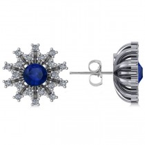 Blue Sapphire & Diamond Sunburst Earrings 14k White Gold (1.60ct)