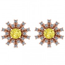 Yellow Diamond & Diamond Sunburst Earrings 14k Rose Gold (1.40ct)