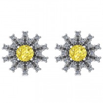 Yellow Diamond & Diamond Sunburst Earrings 14k White Gold (1.40ct)
