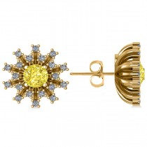 Yellow Diamond & Diamond Sunburst Earrings 14k Yellow Gold (1.40ct)