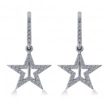 Dangle Diamond Star Earrings 14k White Gold (0.62ct)