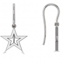 Dangle Star Earrings 14k White Gold