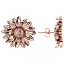 Multilayered Daisy Flower Stud Earrings 14K Rose Gold