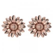 Multilayered Daisy Flower Stud Earrings 14K Rose Gold