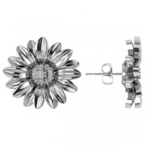 Multilayered Daisy Flower Stud Earrings 14K White Gold