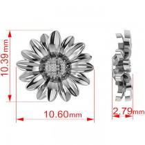Multilayered Daisy Flower Stud Earrings 14K White Gold