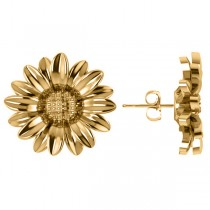 Multilayered Daisy Flower Stud Earrings 14K Yellow Gold