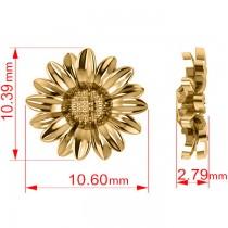 Multilayered Daisy Flower Stud Earrings 14K Yellow Gold